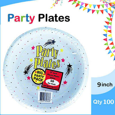 Disposable Plastic Plates 9 Inch 100/Pc Round White Plate Party Occasions New