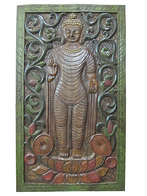 Antique Door Panel Standing Buddha Hand Carved Wall Panel Decorative Furniture