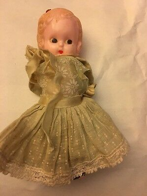 Celluloid Small Doll With Cute Dress