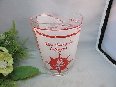 Vtg 1950's Rare souvenir bar glass from the Ohio Turnpike. Refresher map
