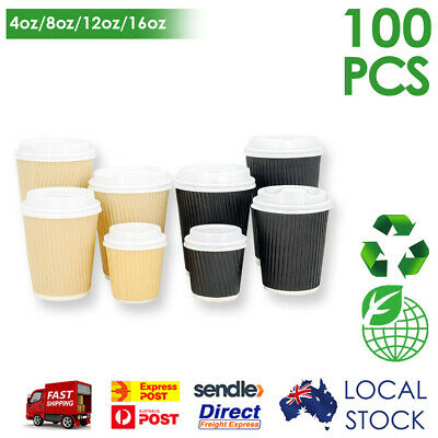 Take Away Triple Wall Coffee Cups (8oz/12oz/16oz) Disposable w/ White Lids Bulk