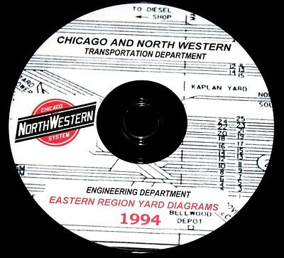 Chicago &  North Western Railroad Eastern Region Yard Track Chart Pages on DVD