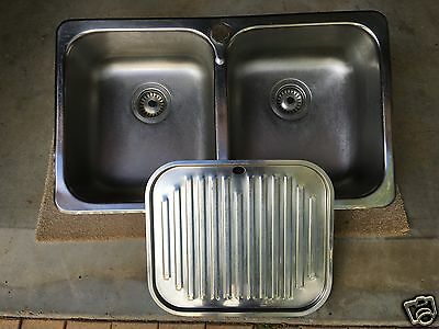 Double Bowl Stainless Steel  Kitchen Sink with  Mixers Tap and Dariner