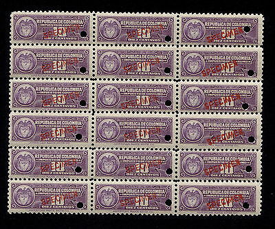 Early Columbia American Bank Note 10c Revenue Specimen Block of 18 MNH
