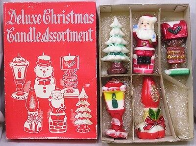 Vintage Christmas Deluxe Candle Assortment in OB FIVE Candles 1950s