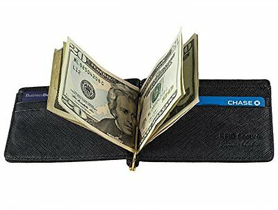 Mens Wallet Bifold Genuine Leather RFID Blocking Slim Wallets with Money Clip