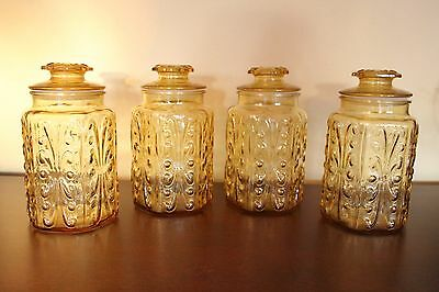 Vintage CANISTER SET Honey Amber Imperial Glass ATTERBURY SCROLL 4 PIECE