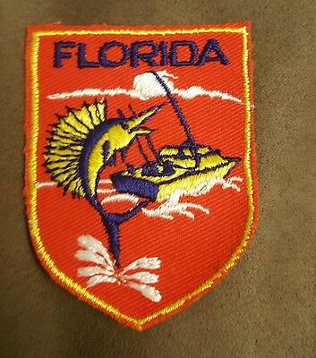FLORIDA MARLIN FISHING Embroidered Sew on Patch • Vintage