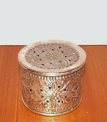 Silver Plated Cricket Cage w/ Repouse Pattern & Reticulation