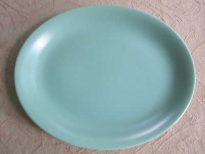 vintage 1950s POOLE POTTERY Twintone OVAL SERVING PLATTER Ice green & white C57