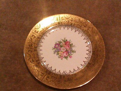 Paden City Pottery PCP275 Floral Wide 22K Gold Band Encrusted Dinner Plate