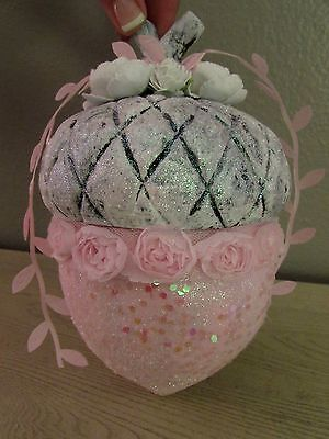 Shabby Chic LARGE PINK VICTORIAN Glitter ACORN Christmas Village Ornament  ROSES
