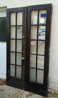 Vintage Set (2)-10 Light Wooden French Doors ARCHITECTURAL SALVAGE