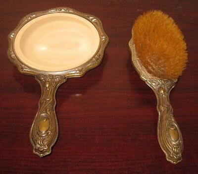 Antique Brass Hand Mirror and Horse Hair Brush Patent 1906