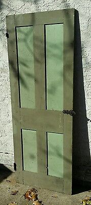 """Antique Vtg Wooden Paneled Painted Door  76 7/8"""" tall x 28 7/8 Thumb Latch!"""