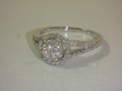 14K White Gold Round Halo Design Diamond 1/2 Cttw Ring By Affinity New Size 7