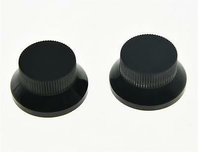 2pcs Black Metal Top Hat Bell Knobs Push On Guitar Bass Knob for 5.8mm Pots