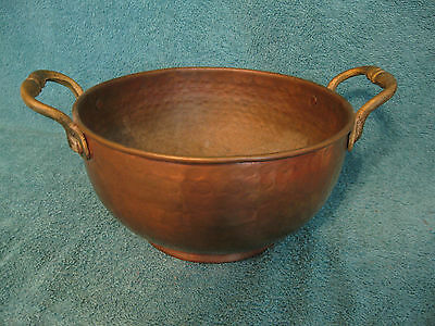 Hand Hammered Copper Pot w/Brass Handles (item# S159)