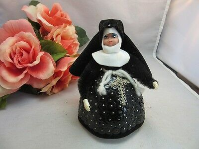Vtg 1970's hand made sequin, styrofoam Catholic Nun doll.