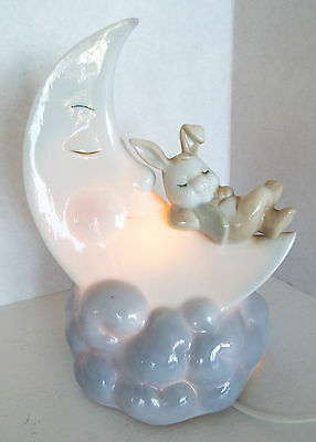 Nursery Lamp Porcelain Night Light Bunny Rabbit Sleeping on on Moon & Cloud