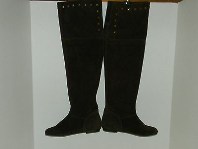 Pesaro - Womens Suede Leather Over the Knee Boots in Brown - Size 6 M - New!