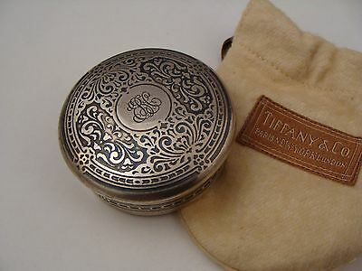 Antique 1884 Tiffany & Co Makers 925 Sterling Silver Round Trinket Box Rare