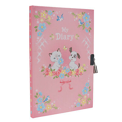 Lockable Diary for Girls,Tiger Tribe Puppies and Kitten Diary with lock and keys