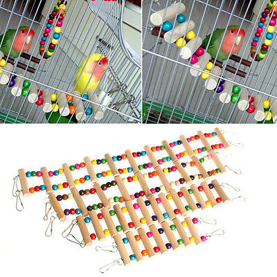 Pet Birds Swing Wooden Bridge Ladder Climb Cockatiel Parakeet Budgie Parrot Toy