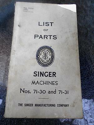 Vintage Singer Sewing Machine instructions parts list 71-30 71-31 industrial