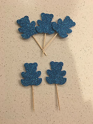 12x Glitter Teddy Bear Toppers Blue - Party, Cupcakes, Cakes