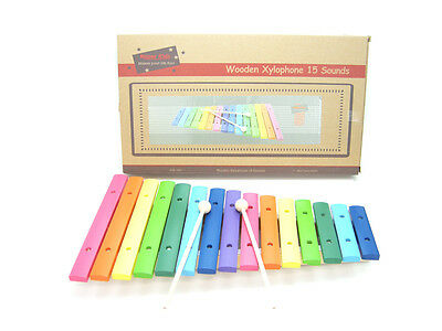 Children's Xylophone Large Wooden Rainbow colour 15 toned Musical Instrument Toy
