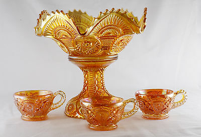 Imperial Twins Carnival Glass Mairgold Punch Bowl 3 Cups & Base