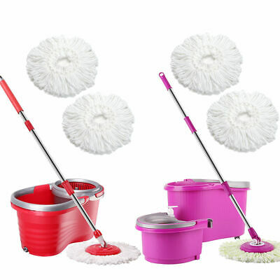 Microfiber Spining Magic Spin Mop w Bucket 2 Heads Rotating 360° Easy Floor Mop