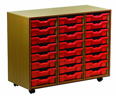 School 24 Tray Storage Unit with a choice of Coloured Gratnells Trays