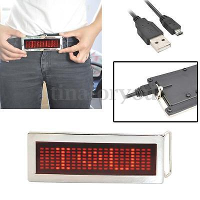 Programmable Rechargeable LED Scrolling DIY Text Flash Chrome Belt Buckle Party