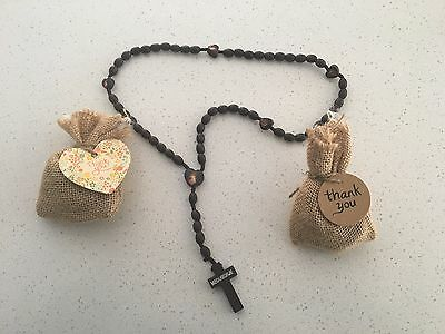 Brown Wooden Rosary Beads Holy Communion, Baptism, Confirmation Bonbonniere