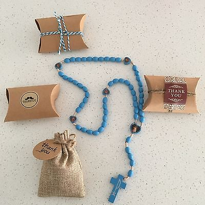 Wooden Rosary Beads Blue Baptism Christening, Holy Communion Favours Bonbonniere