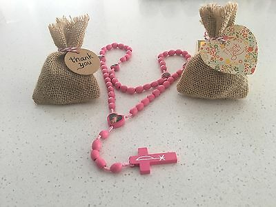 Wooden Rosary Beads Pink Baptism Christening, Holy Communion Favours Bonbonniere