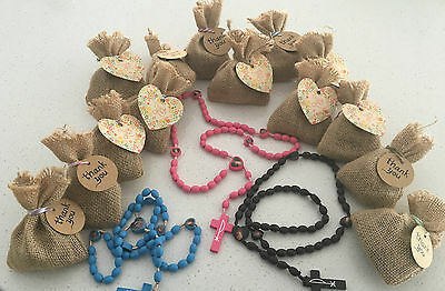 Wooden Rosary Beads Pink, Brown or Blue Favours Bomboniere- 20 Pack Bulk
