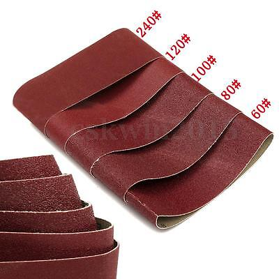 5x Sanding Belts Polished 60 80 100 120 240 Grits Sander Power Tool 75x457mm New