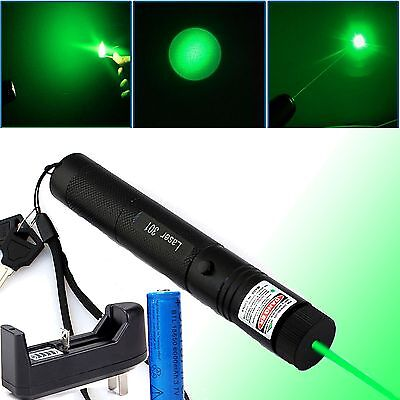 Green Laser Pointer Pen G301 532nm Lazer Visible Beam +18650 + Charger 1MW