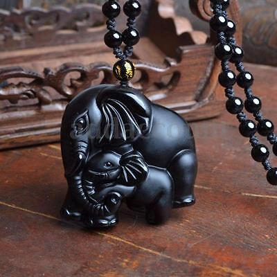 Natural Obsidian Hand-carved Lovely Elephant Fox Lucky Pendant Necklace Jewelry