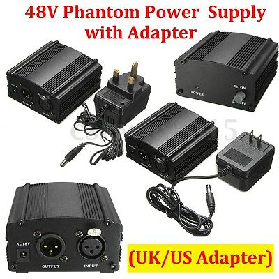 DC 48V 1-Channel Phantom Power Supply + Adapter For Condenser Microphone US Plug