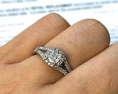 TDW 0.8 Carat Diamond 18K White Gold Engagement Ring With Valuation 5.30g Heavy!