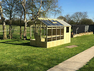 """6'8""""x12'8"""" Victorian Timber Greenhouse Shed Combination"""