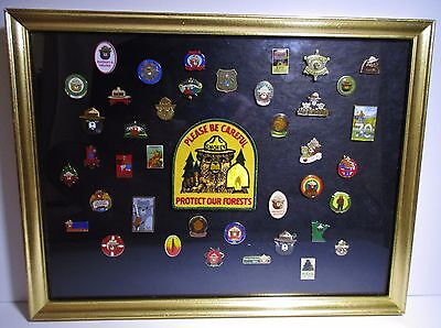 Vintage Collectible Fire Prevention Smokey Bear Pins Lot Set Framed