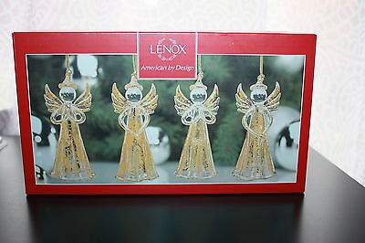 Lenox Gold Crystal Angels Set Of 4 ....... Brand New In Box