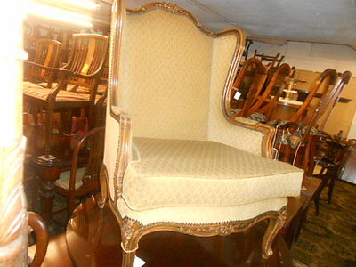 French Vintage Beech Arm Chair Carved Detail Studded Edges Clean Upholstery