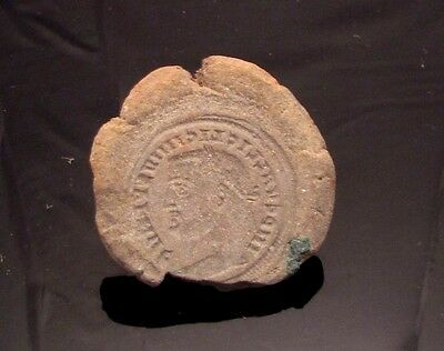 Ancient Rome, c. 340 - 360 AD. Clay counterfeiter's mould #9