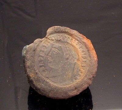 Ancient Rome, c. 340 - 360 AD. Clay counterfeiter's mould #10
